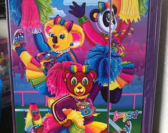 Vintage Lisa Frank Bear Cheerleaders Tri Fold Binder