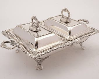 Victorian Double Entree Dish and Stand, Circa 1880