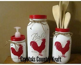 Nice Rooster Chicken Kitchen Canister Sets, Rooster Soap Dispenser,rooster  Utensil Holder, Farm House
