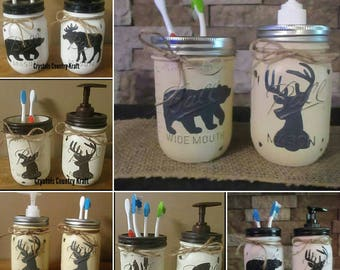 deer bear moose fishing toothbrush holders and soap dispensers woodland animals