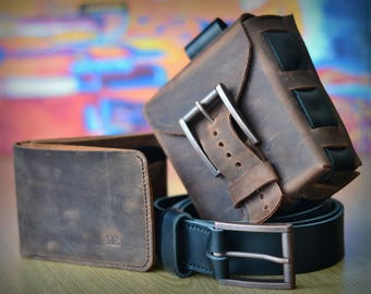 Leather belt utility bag, mens leather wallet and leather belt pack. Hip pouch, billfold and belt in a complete accessories set for men