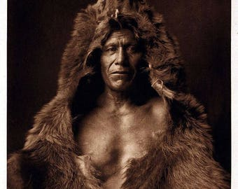 Native American Indian Chief Bears Belly Portrait Wild West Photo Art Print Picture