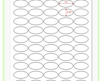 """8 Sheets Blank Sticker Labels: 0.75"""" x 1.50"""" Oval Label - White Matte Finish"""