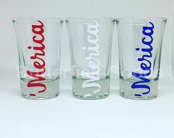 MERICA shot glasses, red white and blue, America shot glasses
