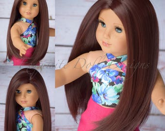 """Custom Doll Wig for all 18"""" American Girl Doll - Heat Safe - Tangle Resistant - Auburn - fits all 10-11"""" head circumference dolls"""