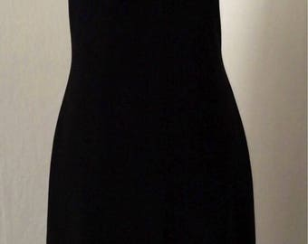 Vintage 90's black stretchy fitted body-con midi dress