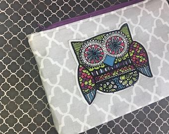 Owl Patchwork Zipper Bag- Gray Quatrefoil/Teal