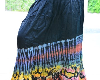 Adorable Colorful Tie Dye skirt , Multi Colored, Maxi Skirt,Hippie skirt,Handmade tie dye skirt, Boho skirt,Comfy, WS002-1