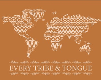 Every Tribe and Tongue Wall Art in Orange