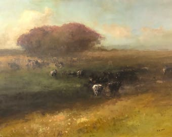Cows in the Meadow, Landscape Original oil Painting, Museum Quality, Handmade artwork, Oil on Linen, Signed