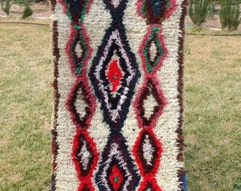"Authentic Moroccan Azilal Rug Wool Berber Carpet 6'3"" x 2'3"""