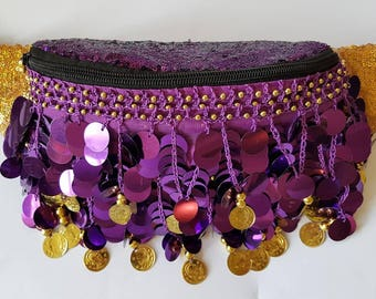 The Purple and Gold Iridescent Sequin Belly Dancer bum bag