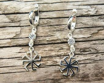 Silver earrings with a symbol of Kolyadnik