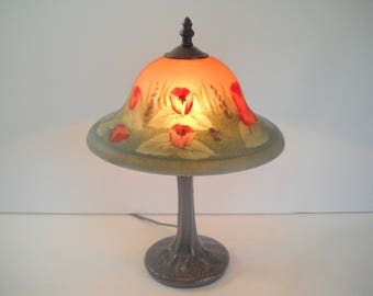 Reverse Painted Lamp with Red Roses