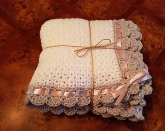 Tiramisu Baby Blanket/Crochet Baby Blanket/White Baby Blanket/Baby Girl Blanket/Stroller Blanket/Crib Blanket/Car Seat Blanket