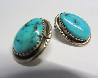 Silver Turquoise Earclips