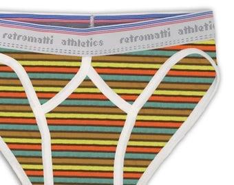 Retro sport briefs low rise in brown orange lime blue stripes