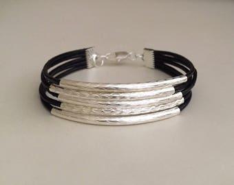 Women's leather bracelet/Beaded leather bracelet/Bohemian jewelry/Boho bracelet/Fashion jewelry