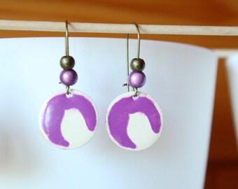 Magic Pearl and sequin purple enamel earrings
