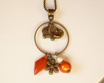 Bronze elephant and sequin collar orange flower and magic pearls