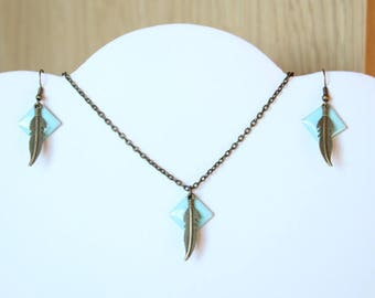 Set necklace earrings blue sequin Mint and bronze feather