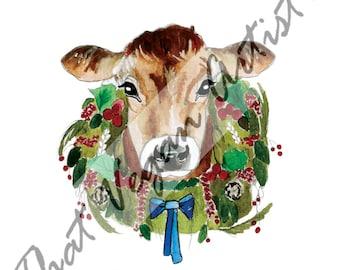 Animal Christmas Card | Cow