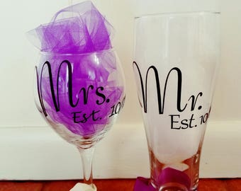 Mr & Mrs Wine and Beer Glass/ Bridal Shower