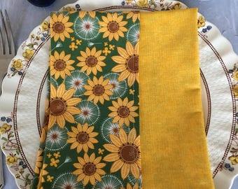 "Sunflower and Dandelion Puff Cloth Napkins 17"" x 17"" Set of 6"