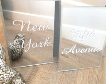 Mirror acrylic table names and numbers A5