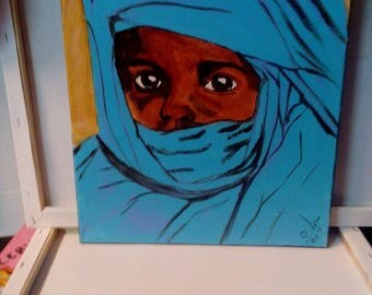 Small child Tuareg acrylic paint