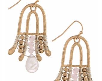 Semi precious stone chandelier earrings