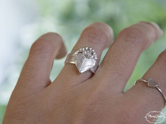 Heart band ring, raw ring, Moissanite solitaire ring, leaf ring, unique piece, OOAK, Fine Silver ring, ethical ring, Anniversary gift