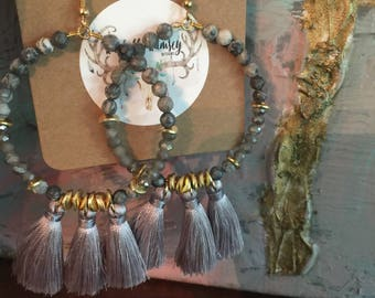 SALE**Gray/gold beaded earrings with gray tassels