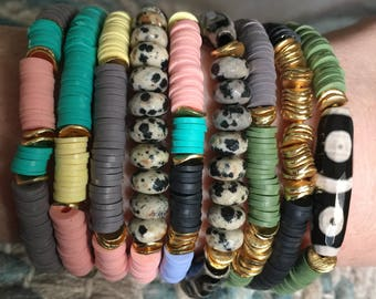 Polymer clay beaded stacking bracelets