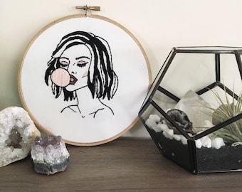 Bubblegum Embroidery Hoop | Hand Embroidered | Wall Art | Wall Hanging | Modern Embroidery | Home Decor