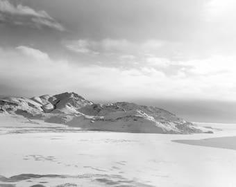 Snowy Mountain BW Photograph, Antelope Island Utah, Photography, Digital Download Photography, Printable Art, Nature Photography,