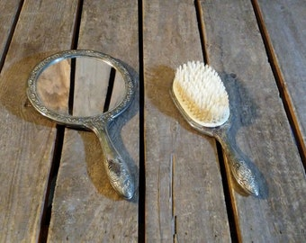 Silverplated Brush and Mirror