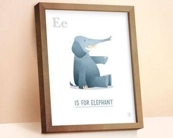 Elephant Print | Nursery Animal Print | Alphabet letters | Alphabet Print | ABC letters | Animal Prints for Nursery | Nursery Wall Art