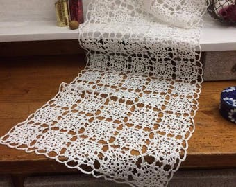 Handmade white crochet table runner
