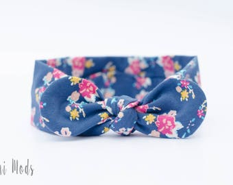 Blue Floral Dot Top Knot Headband / Baby Headband / Knot Baby Headwrap / Blue Floral Headband / Tie knot Turban Headband / Baby Shower Gift