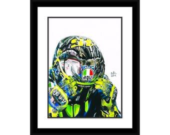Valentino Rossi Portrait Moto GP Motorbike Sports The Doctor #46 Pencil Drawing High Gloss Print Art A4 A3 Fan Art Wall Art Decor