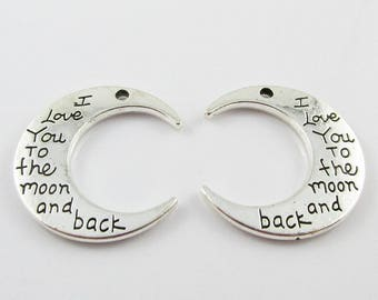 Bulk I Love You to the Moon & Back Crescent Moon Charm Pendant 29x27mm Pick Qty