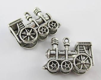 Bulk 3D Train Charm Pendant Steam Train Railroad 28x21mm Select Qty