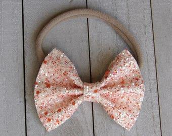 Orange slice glitter bow
