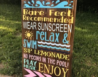 Pool Rules Sign | Large Pool Area Sign
