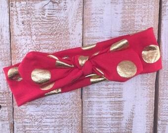 Red & Gold Polka Dot Top Knot Head Wrap, Top Knot Headband, Baby Girl, Girls Head Wrap