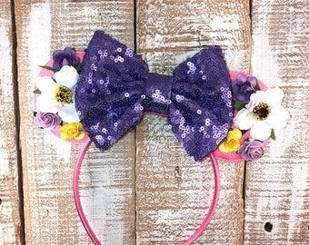 Rapunzel Inspired Ears, Minnie Mouse Ears, Rapunzel Headband, Girls Birthday Headband, Bachelorette Party
