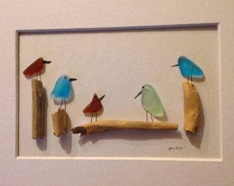 8 x 10  Beach Glass Birds, Original Pebble Art with Hand Made frame in your choice of stain color by Jodi Bolger