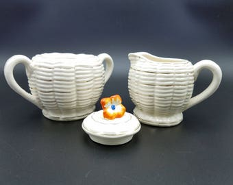 Vintage Japanese Cream Pitcher and Sugar Bowl ~ Basket Weave with Flower Finial ~ Gold Gilt ~ Japanese Majolica