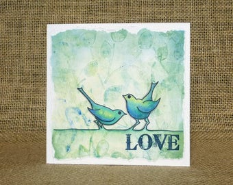 handmade love card,  valentine's card, anniversary card, handmade bird love card, engagement card, wedding card